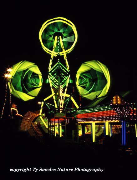 Nightime at the Iowa State Fair Midway